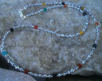 Silver Hämatitkette with colored stones #425