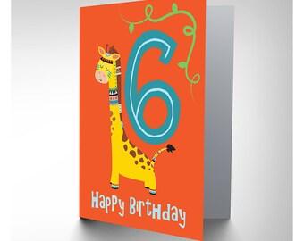 Card Birthday Kids Six 6 Native Giraffe CP2979