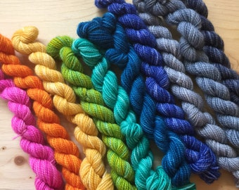 Bright rainbow  - 10 mini skeins