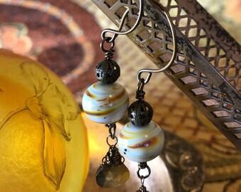 Artisan Lampwork,Brass,Andalucite Garnet Earrings Hook Earrings Artisan  Jewelry Ooak NEPTUNE