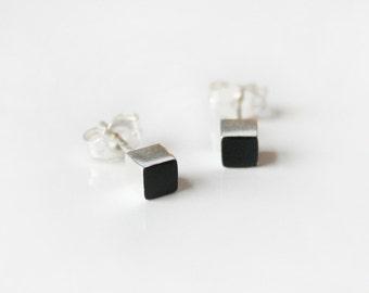 Black Sterling Silver cube stud earring