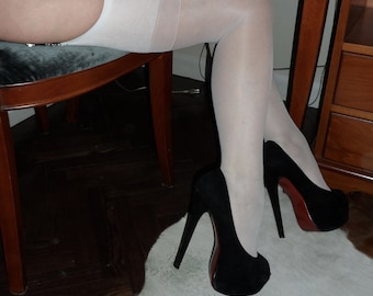 Vintage Style Nylons in Black, Pale Tan, White and Red