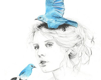 Where do my bluebirds fly - LIMITED EDITION PRINT  - Giclee illustration Print A4