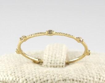 Champagne Diamond Stacking  Ring, Cognac Diamond Ring, 14K Diamond Thin Eternity Wedding Band, 14K Minimalist Simple Thin Ring