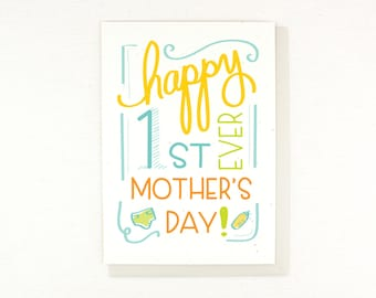 Mothers Day Card, First mothers day, new mom card, card for mom