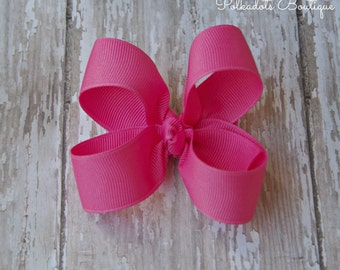 Hot Pink Toddler Hair Bow 3 Inch Alligator Clip Baby Hairbow Hot Pink Toddler Bow Hot Pink 3 Inch Bow