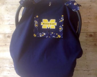 University of Michigan Embroidered Infant Car Seat Canopy/Foot Muff Set