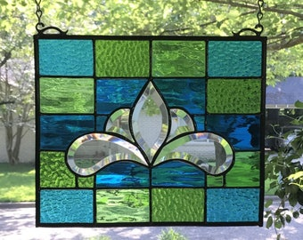 "Stained Glass Window Panel Suncatcher w/Bevels - apprx size 10"" x 12"""