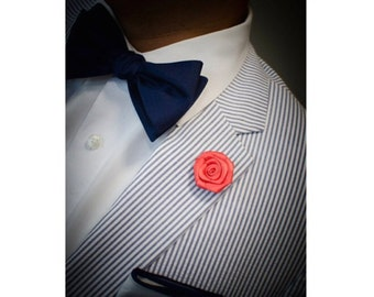 Coral flower lapel pin