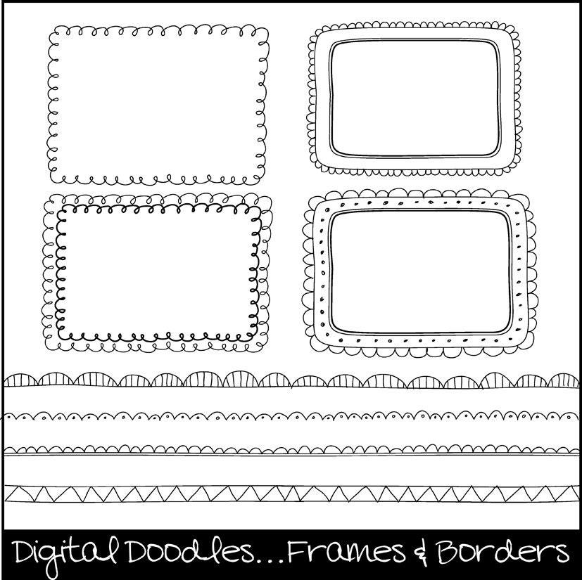 Digital Doodle Frames & Borders. Digital Clipart. Clipart