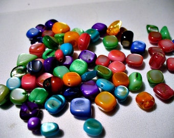 Mother of Pearl Nuggets Mixed Colors 8mm