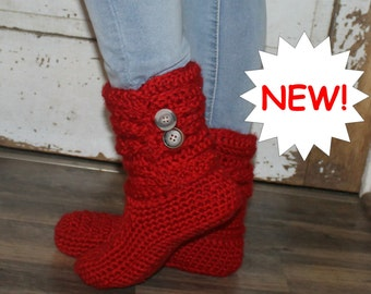 Crochet Boots Pattern     BRAIDED BOOTIES      indoor or outdoor wear  Womans sizes 5-10