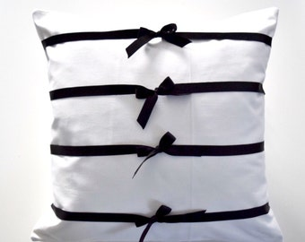 White Pillow cover with striped  bow accent  ( Pillow insert are not included )