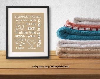 Beige or Tan Kids Bathroom Art Decor Bathroom Artwork Printable Art Print Instant Download Bathroom Wall Quote Sign