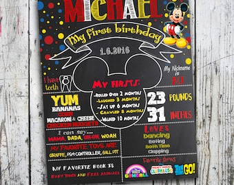 Mickey Mouse Chalkboard Sign, First Birthday Chalkboard Poster, Mickey Mouse Birthday Chalkboard Poster, Birthday Poster, Mickey Party