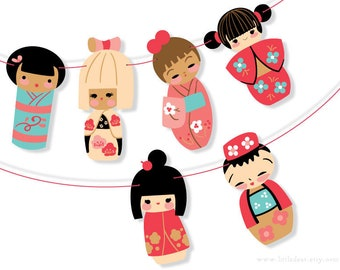 DIY Printable Kokeshi Dolls Banner PDF digital download Scrapbook Party Decorations