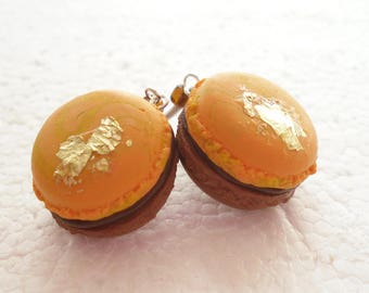 French Macaroon Earrings. Chocolate Orange. Polymer Clay.