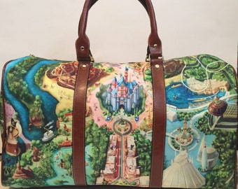 Made to Order (Ships in 4 weeks)  Disney Land Map Inspired Overnight Bag