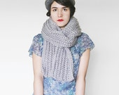 Chunky Crochet Long Scarf -  Winter Unisex Scarf - Winter Accesory in Grey | The Io Scarf |