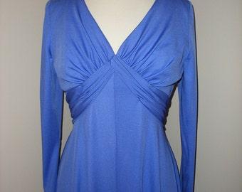 Beautiful Long Vibrant Blue Purple Dress / Vintage 70s Gown Dress / Maxi Vintage Boho Beauty / Comfortable Dresses