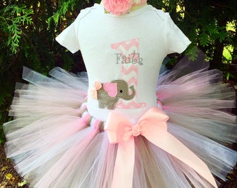 First Birthday Outfit Girl - Elephant Birthday Tutu Set - Pink Tutu - Cake Smash Photo Prop - Trendy Baby Clothes - Elephant Party