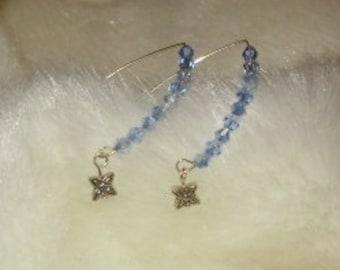 Swarovski Crystal V Hook Flower Dangle Earrings