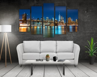 5 Panel Metal Print of New York Night Skyline. Perfect for Livingroom, Bedroom or Office. Ready to Hang!