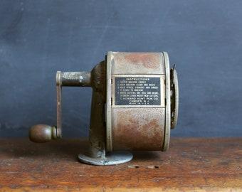 Vintage Pencil Sharpener - Boston KS - Rusty Patina - Manual - Wall Mount - Desk Mount