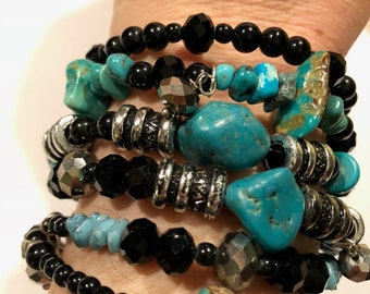 Turquoise and sparkly black memory wire bracelet with silver accents