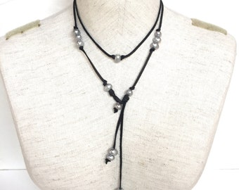 Gray Fresh water Pearl and leather lariat, pearl and  leather choker, set of two necklaces, boho necklace