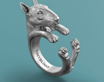 Handmade Bull Terrier Jewelry. 925 Sterling Silver Cuddle Ring. Great for all the Dog, Puppy, and Pet Lovers