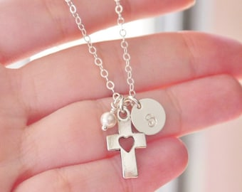 First Communion Gifts, Fist Communion Necklace, Cross Heart Necklace, Initial Birthstone, Personalized Cross Necklace, Confirmation Gifts