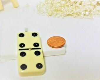 Pendant Necklace, White Domino Pendant, White Domino Necklace, Retro Necklace, Double Four, Quirky, Funky, Kitsch, Unique