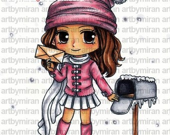Digital Stamp - Joyful Joanne (#325), Digi Stamp, Coloring page, Printable Line art for Card and Craft Supply