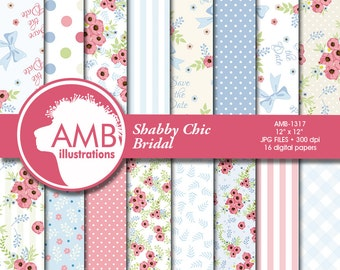 Floral Digital Papers, Wedding Digital papers,Shabby chic papers, Scrapbook papers, Floral Digital Backgrounds, AMB-1317