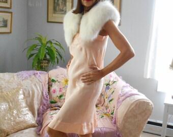 Beautiful 1930's NRA Peach Silk Nightgown/Slip Lingerie