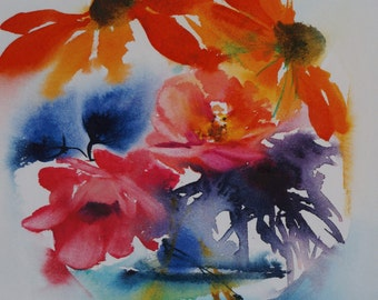 """Postcard. Reproduction watercolor flowers """"flowers bubble"""" greeting card"""