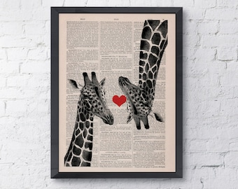 Giclee print Giraffes in love  Red heart  Vintage Book sheet wall decor poster print giraffe LOVE wall hanging ANI012