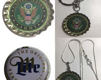 Miller Lite Beer bottle caps US United State Army Keychain, Pendant, Necklace