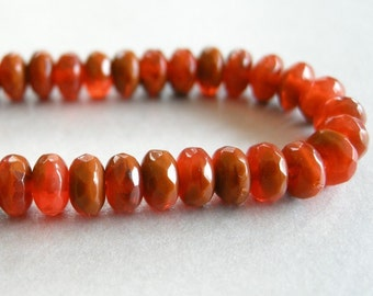 dark orange varigated beads, czech glass donut beads, 6mm by 4mm