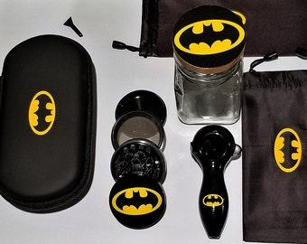 Batman Glass Pipe Portable Case Protection System  Includes Bat Pipe + Bat Zipper Case + Call Grinder + 2 Bat Bags + Bat Jar + Free Shipping