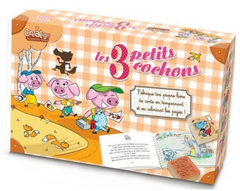 Box: fairy tale the 3 little pigs to illustrate with stamps and colored pencils included