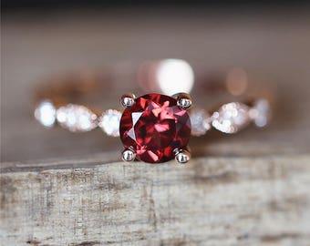 Red Garnet Engagement Ring VS 5mm Round Cut Garnet Ring Birthstone Ring Art Deco Ring 14K Rose Gold Engagment Ring Birdal Ring Gemstone Ring