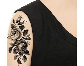 Temporary Tattoo -  Vintage Rose Tattoo - Various Patterns and Sizes / Tattoo Flash