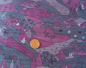 Vintage Japanese silk kimono fabric 92 cm x 36 cm  pink houses and scenery