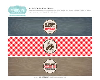 Personalized Vintage Cowboy Water or Soda Bottle Labels - Navy Blue