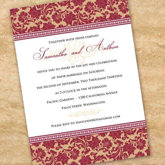 wedding invitations, cranberry wedding invitations, rust wedding invitations, rust bridal shower invitations, cranberry party, IN281