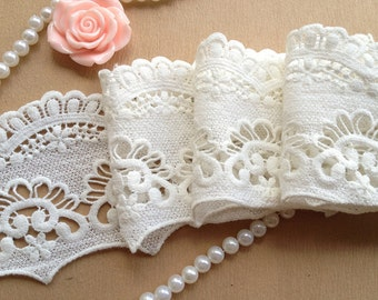 Off White Cotton Venice Lace Trim Retro Hollowed Out Lace 3.22 Inches Wide 2 Yards