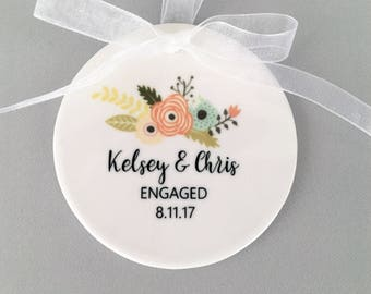 Engagement Ornament, Engagement Ornaments, Engagement Gift, Engaged, Bride to be, Just Engaged, Floral Engagement Ornament, Engaged