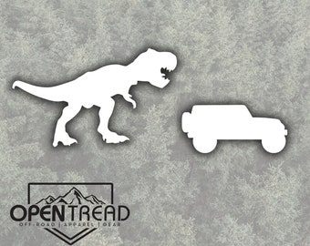 T-Rex Chasing Jeep Wrangler- Jeep Decal - White